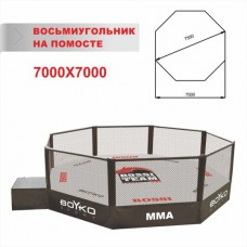 Восьмиугольник ММА 7,0х7,0 м (диагональ 7,5 м), помост 0,35-0,6-1,0м